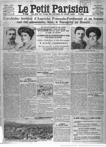François-Ferdinand et sa femme ont été assassinés